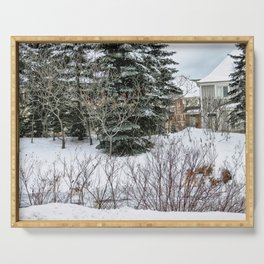 Blue Mountain Village at wintertime, Collingwood, Ontario Serving Tray