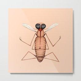 meditating mosquito pink Metal Print