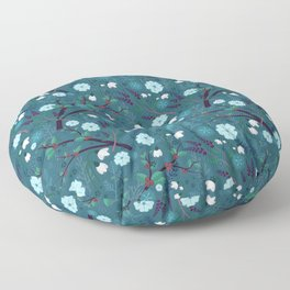 Winter Night Blooms Floor Pillow