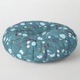 Winter Night Blooms Floor Pillow