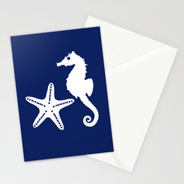 Seahorse and Starfish, Navy Blue and White Stationery Cards