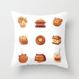 Salted caramel bear Throw Pillow