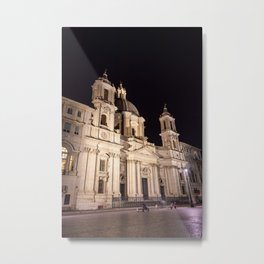 Sant Agnese Church in the Piazza Navona at night - Rome, Italy Metal Print