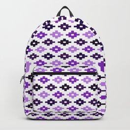 Geometric Flower Cross Stitch Appearance - Plum Purple On White Backpack