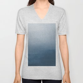 White & Blue Abstract Watercolor Blend Pairs To 2020 Color of the Year Chinese Porcelain PPG1160-6 Unisex V-Neck