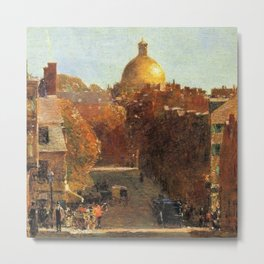 Classical Masterpiece 'Mount Vernon Street, Boston' by Frederick Childe Hassam Metal Print