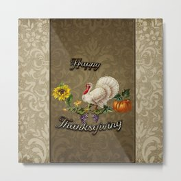 Happy Thanksgiving, with cute turkey, flowers and Metal Print