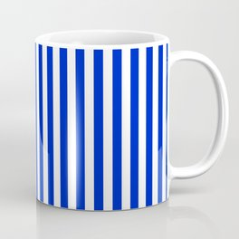 Cobalt Blue and White Vertical Deck Chair Stripe Coffee Mug