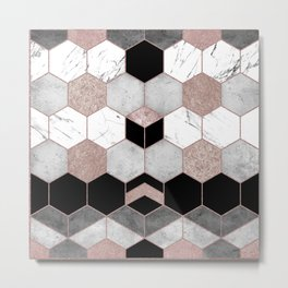 Rose Gold Geometric Marble Pattern Metal Print