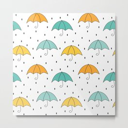 cute cartoon autumn pattern with umbrellas and rain Metal Print