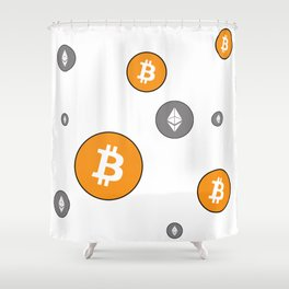 Ethereum and Bitcoin Pattern Shower Curtain