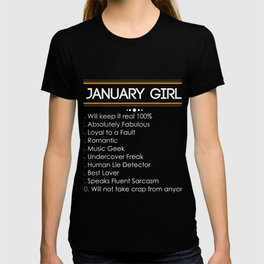Funny Gift For January Girls. Birthday Shirt For Daughter. T-shirt