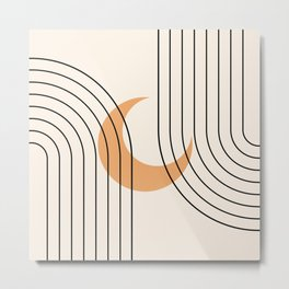 Geometric Lines in Black and Beige 18 (Rainbow and Moon Abstraction) Metal Print