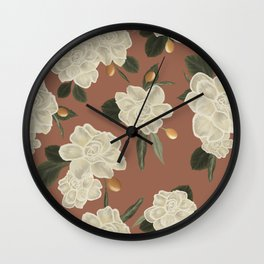 Gardenia Garden Pinkish Pattern Wall Clock