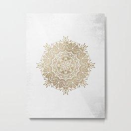 Sepia Mandala Graphic Pattern Metal Print