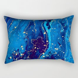 Blue marble and gold abstract - Resumen de mármol azul y oro - Abstrakt aus blauem Marmor und Gold Rectangular Pillow