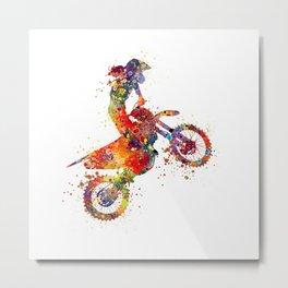 Girl Motocross Colorful Watercolor Motorcycle Art Metal Print