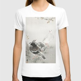 Pigeons Under The Tree - Japanese Vintage Woodblock Print T-shirt