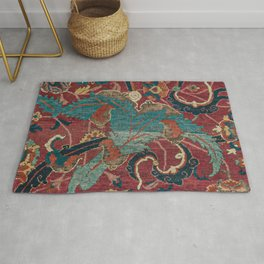 Flowery Arabic Rug I // 17th Century Colorful Plum Red Light Teal Sapphire Navy Blue Ornate Pattern Rug