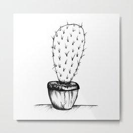 prickly black and white cactus Metal Print