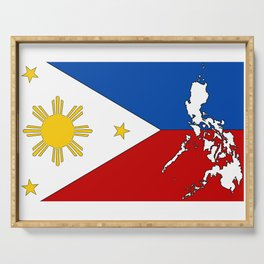 Philippines Flag with Filipino Map Serving Tray