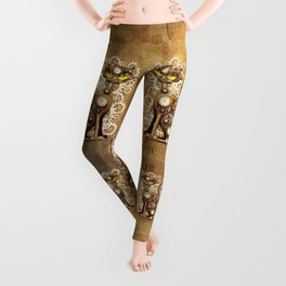 Steampunk Cat Vintage Style Leggings