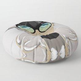Mugshot 4:00 am Surreal Graffiti Girl Portrait with Glasses Floor Pillow