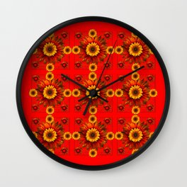 RED & YELLOW SUNFLOWER PATTERN Wall Clock