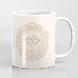 Pisces Zodiac Mandala - Gold on Cream Coffee Mug