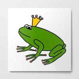 Cute Green Frog Prince Metal Print