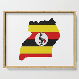 Uganda Map with Ugandan Flag Serving Tray