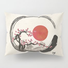 Zen Enso Circle and Sakura Tree Pillow Sham