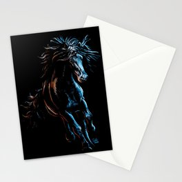 Black Running Horse Pastel Drawing - The Night Mare Stationery Cards