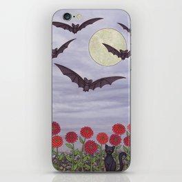 bats, zinnias, and black cat iPhone Skin