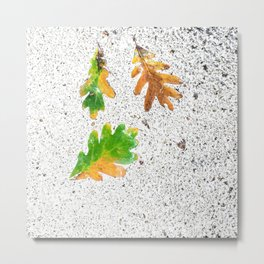 Rainy Autumn Leaves on White Snow Terrazzo Metal Print