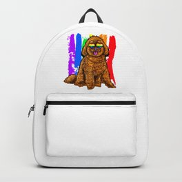 Adorable Dog With Rainbow Heart Glasses Backpack