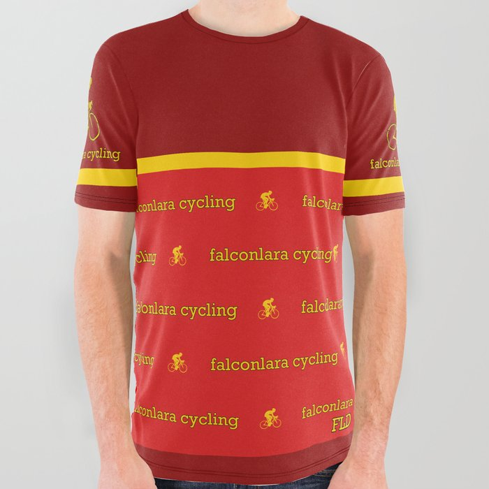 FLD Cycling Red + Yellow Stripe All Over Graphic Tee