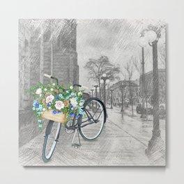 Black bike & street sketch Metal Print