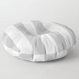 Minimalist Gray Tones - Stripes and Circles Horizons Series Floor Pillow