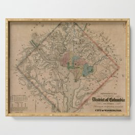 Vintage Washington DC Civil War Defenses Map (1864) Serving Tray