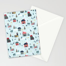 Winter Holiday Village Stationery Cards