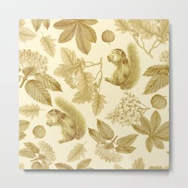 SQUIRRELS IN THE FOREST - Monochrome pattern  Metal Print