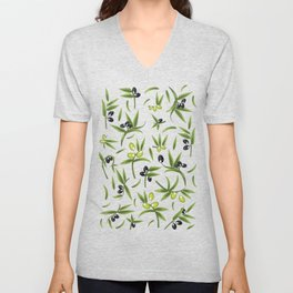 Olive Pattern Unisex V-Neck
