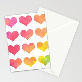 Rainbow Heart Gradient Pattern Stationery Cards