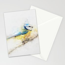 Yellow blue tit watercolour painting watercolour minimalism artsy illustration Stationery Cards