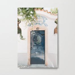 White Portuguese House with Blue Front Door in Cascais, Portugal   Travel Photography   Metal Print