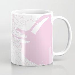 White on Pink Dublin Street Map Coffee Mug