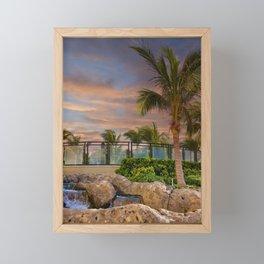 Palm Tree and Fountain at Dusk Framed Mini Art Print