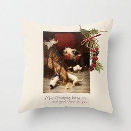 Pet Lover Christmas Greeteengs Throw Pillow