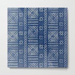 Line Mud Cloth // Dark Blue Metal Print
